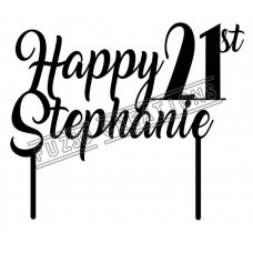 Happy 21st - Cursive Design