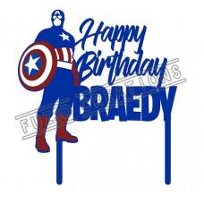 Happy Birthday - Multi Colour Captain America Theme