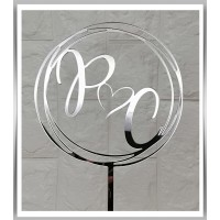 Wedding Initials with Love Heart Topper