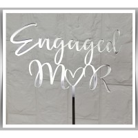 Engaged Initials with Love Heart Topper